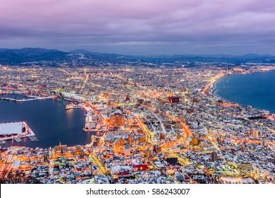 Hakodate, Hokkaido, Japan Skyline at twilight.