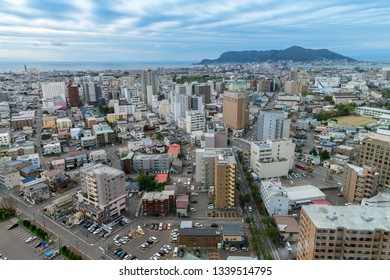Hakodate, Japan - 10 October 2018: Cityscape of Hakodate from the top of Goryokaku Tower in Hakodate, Hokkaido, Japan.