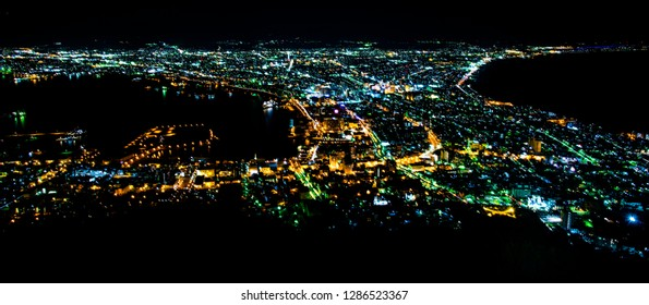 Hakodate, Japan - April 1 2016: Night view of Hakodate Cityscapes
