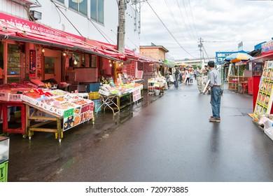 Hakodate Japan - August 25 2017: Fresh crab and seafood for sell at Hakodate Morning Market ( Nijo Market ), Hokkaido, Japan