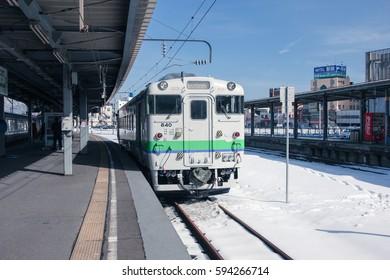 HAKODATE, JAPAN - FEB 05, 2017: The little train stopped in hakodate train station.