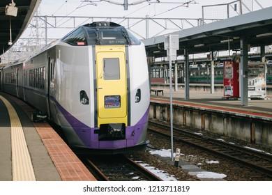 HAKODATE, JAPAN - JANUARY 3, 2018 : JR Super Hokuto limited express train (Series 261) services between Sapporo and Hakodate in Hokkaido operated by Hokkaido Railway Company (JR Hokkaido).