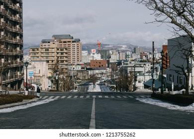 HAKODATE, JAPAN - JANUARY 3, 2018 : The street view of Hakodate city, Hakodate is a city and port located in Oshima Subprefecture, Hokkaido, Japan.