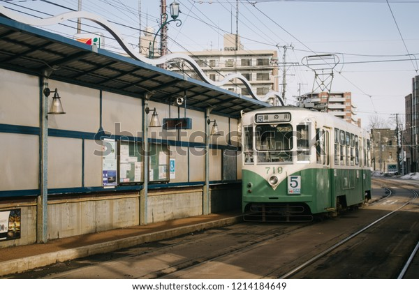 HAKODATE, JAPAN - JANUARY 3, 2018 : View of the streetcar on the street in Hakodate, the trams, or streetcars are the most convenient way of getting to the various attractions in Hakodate.