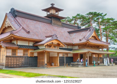 Hakodate, Japan - Jul 19 2017- Hakodate Magistrate's Office at Goryokaku Park in Hakodate City, Hokkaido, Japan. was originally a star fort designed in 1855. a famous historic site.