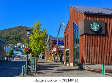 Hakodate, Japan - Oct 1, 2017. Walking street of Kanemori Red Brick Warehouse in Hakodate, Japan. Hakodate  is one of the main cities on Hokkaido, Japan northernmost island.