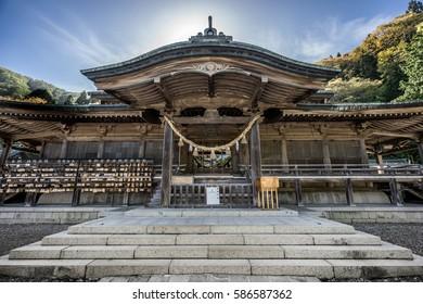 Hakodate, May 13, 2016. Hachiman Shrine (Hakodate Hachimangu) Shinto shrine located in Hakodate city, Hokkaido, Japan.