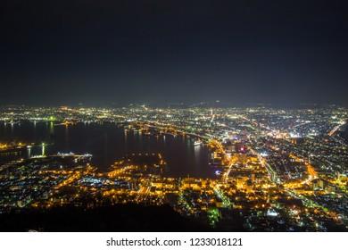 Hakodate,Hokkaido,Japan on April 28,2018: Fantastic views of Hakodate city from Mount Hakodate.One of Japan's three best night views.