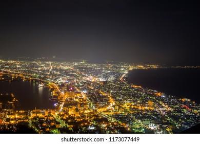 Hakodate,Hokkaido,Japan on April 28,2018: Night views of Hakodate city from Mount Hakodate.One of Japan's three best night views.