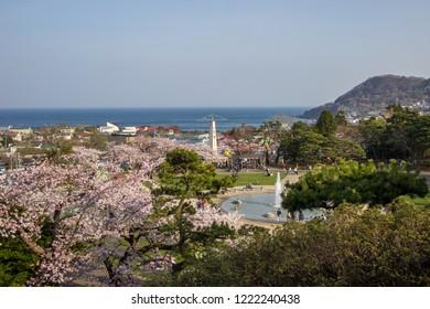 Hakodate,Hokkaido,Japan on April 29,2018: Panoramic view as seen from Meiji-Yama Artificial Mountain in Hakodate Park in spring