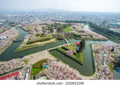 Hakodate,Hokkaido,Japan on April 29,2018:Cherry trees along the moats of Fort Goryokaku as seen from Goryokaku Tower