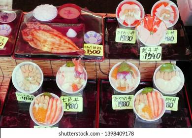 HAKODATE,JAPAN- 4 DEC 2018: Japanese sashimi don,uni don for selling at Hakodate morning market in Hokkaido,Japan