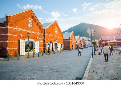 Hakodate,Japan- Feb 4,2018 :The historical red-brick warehouses business is the first commercial warehouse in located at bay area. Hakodate city is the southernmost port city of Hokkaido Island,Japan.