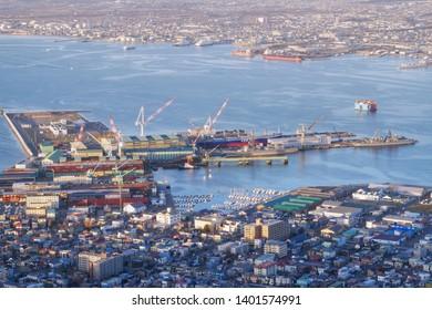 HAKODATE,JAPAN-3 DEC 2018:City view hakodate and port from Mount Hakodate ,Hokkaido,Japan