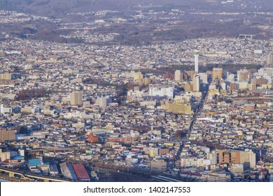 HAKODATE,JAPAN-3 DEC 2018:City view of Hakodate from Mount Hakodate ,Hokkaido,Japan
