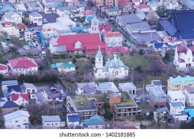 HAKODATE,JAPAN-3 DEC 2018:City view of Hakodate with Hakodate Orthodox Church from Mount Hakodate ,Hokkaido,Japan