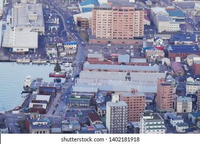 HAKODATE,JAPAN-3 DEC 2018:City view of Hakodate and bay area from Mount Hakodate ,Hokkaido,Japan