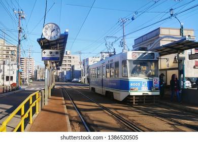 HAKODATE,JAPAN-3 DEC 2018:Hakodate City Trams stop at station.Trams are the main transportation for sightseeing in Hakodate,Hokkaido.Japan