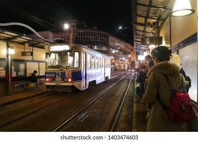 HAKODATE,JAPAN-3 DEC 2018:Hakodate City Trams stop at station .Trams are the main transportation for sightseeing in Hakodate,Hokkaido.Japan
