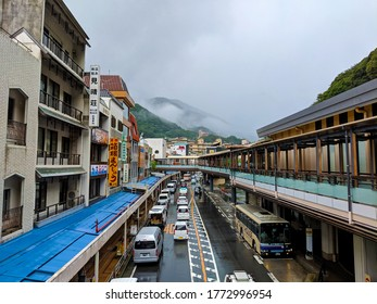 Hakone, Japan - 09-04-2018: The downtown area of Hakone is a surprising interesting layout with raised walking areas and a very nice train station.