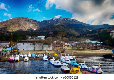 HAKONE, JAPAN - APRIL 4: Lake Ashi 4 April, 2017 at Hakone, Japan. Lake Ashi is a beautiful small lake, a favorite for tourism in Japan.