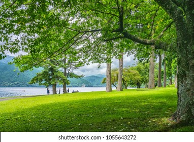 HAKONE, JAPAN - AUGUST 17, 2017 : Lake Ashi in Fuji-Hakone-Izu National Park, also known as Hakone Lake or Ashinoko. It is a crater lake that lies along the southwest wall of the caldera of Mount Hako