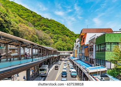HAKONE, JAPAN - May 2: Hakone-Yumoto Station in Hakone, Japan on May 2, 2017.