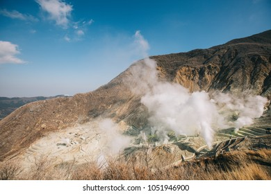 Hakone in Japan. Owakudani is geothermal valley with active sulfur vents and hot springs in Hakone.