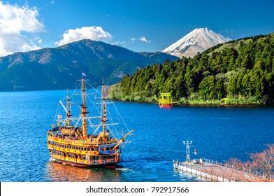 Hakone, Kanagawa, Japan - 2015 January 10 : Mount Fuji, Lake Ashi and Sightseeing Cruise