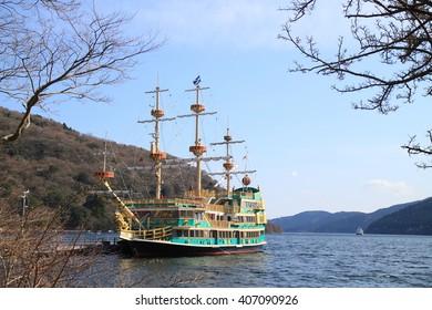 Hakone, Kanagawa, Japan - Mar. 27, 2016: Hakone Kaizokusen, it is a pleasure boat looks just like a pirate ship.