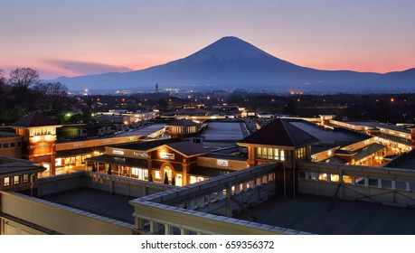 Hakone, Shizuoka, Japan - April 15, 2017 Beautiful scenery during sunset time of Mountain Fuji view point at Gotemba Premium Outlets , Shizuoka in Japan. Travel and Attraction Concept.