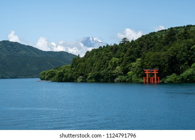Hakone shrine with mt.Fuji at  lake Ashi, Japan