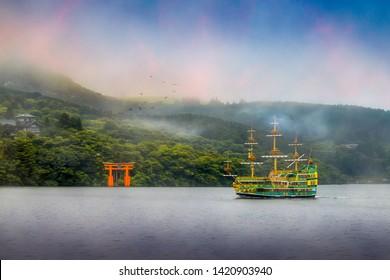 The Hakone Sightseeing Cruise runs between Moto-Hakone Port, Hakone-machi Port and Togendai Port, passengers can enjoy Hakone's wonderful mountain-ringed scenery.