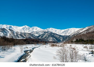 Hakuba mountains with snow in winter is amazing view in Japan