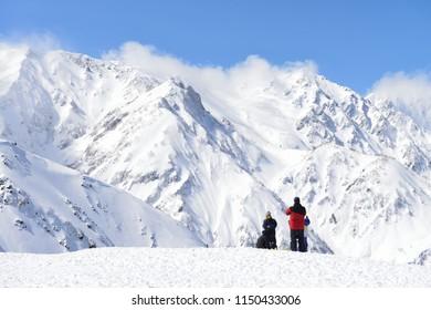 Hakuba snow mountain in Nagano Japan sunny weather