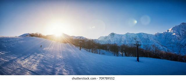 Hakuba snowboarding at sunset