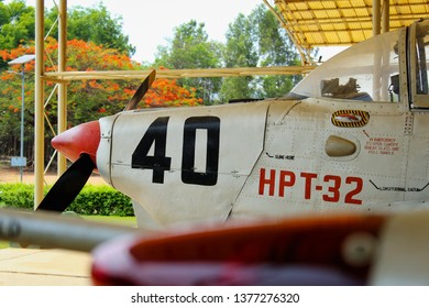 HAL OLD AIRPORT marthhalli bangalore, Karnataka, India - Sunday, 21 apil 2019, 07:55Am - The HAL HPT-32 Deepak is an prop-driven primary trainer manufacturered by Hindustan Aeronautics Limited.