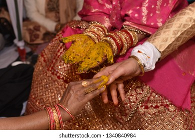 Haldi Ceremony during Hindu Marriage ritual in India