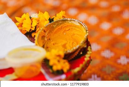 Haldi turmeric paste closeup capture