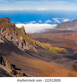Haleakala crater on top of the volcano, Maui, Hawaii. Very high resolution panorama.