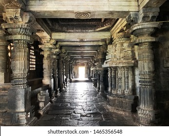 HALEBEEDU, KARNATAKA, INDIA - OCTOBER 31 : The Hoysaleshwara temple is a Hoysala architecture dated 12th century with impressive stone carvings captured on October 31,2018 in Halebeedu,Karnataka India
