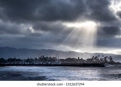 Haleiwa boat harbor on an overcast day on Oahu, Hawaii's north s