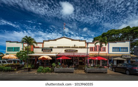 Haleiwa, Hawaii - 19. June 2017 -  Traditional wooden building at Haleiwa, Oahu Hawaii. Contains restaurants and shops.