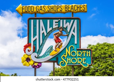 HALEIWA, HAWAII - AUGUST 10: Road sign for the town of Haleiwa famed as a surfing mecca on the North Shore of the Hawaiian island of Oahu on August 10, 2016 in Hawaii, USA