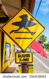 Haleiwa, Hawaii, USA - November 06, 2019: unique street sign in Haleiwa. Haleiwa is a popular destination for tourists and residents alike, visiting surfing and diving sites along the north shore