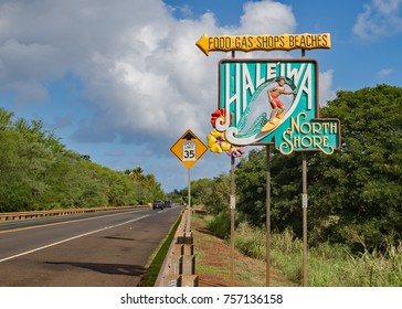 Haleiwa, Hawaii, USA, November 16, 2017 - the famous north shore road sign tells tourists the popular surf town Haleiwa is just   a few minutes drive away
