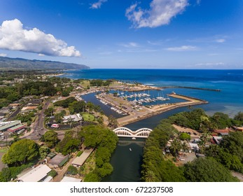 Haleiwa Hi Oct. 18 2016, Aerial view of the Haleiwa small boat Harbor and Rainbow bridge