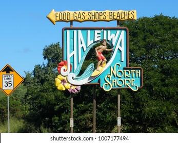 Haleiwa North Shore sign, Haleiwa, Oahu, Hawaii, January 2018