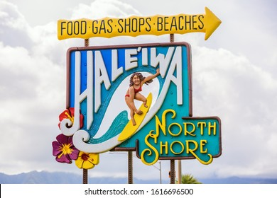 Haleiwa, Oahu, Hawaii - November 06, 2019: colorful town sign of Haleiwa. Haleiwa is the largest commercial center at the North Shore and a popular tourist destination for surfing and diving