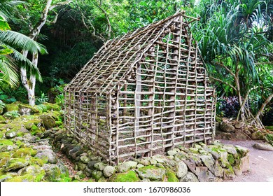 Haleiwa, Oahu, Hawaii, US - November 06, 2019: traditional Hawaiian living site at Waimea Valley. Waimea Valley is a historical nature park including botanical garden